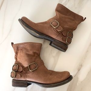 Lucky Brand Norton Ankle Boots Buckle Heel Straps